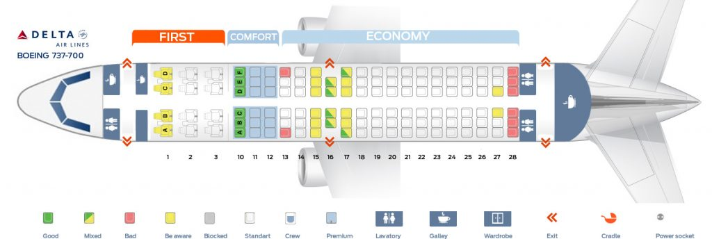 Seat map Delta Air Lines Boeing 737-700