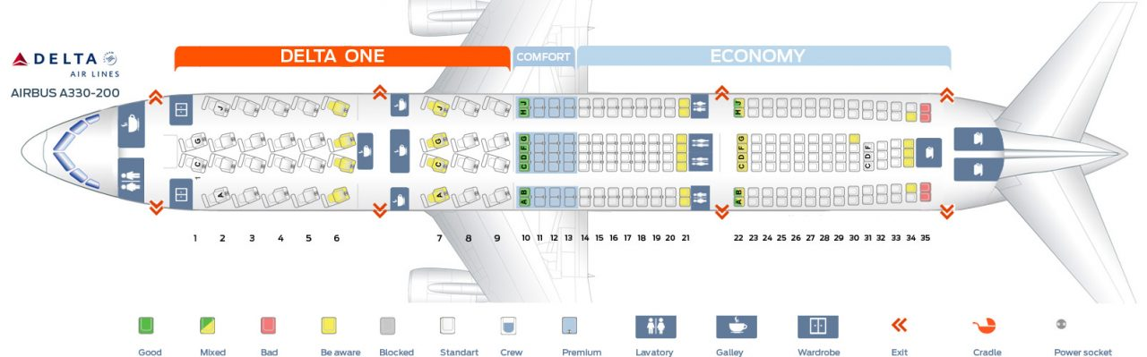 Seat map Delta Airlines Airbus A330-200