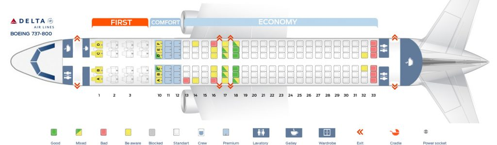 Seat map Delta Airlines Boeing 737-800
