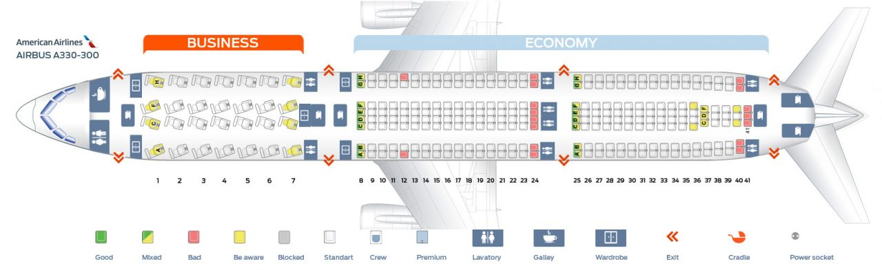 Seat map of the Airbus A330-300 Seating Chart Configuration