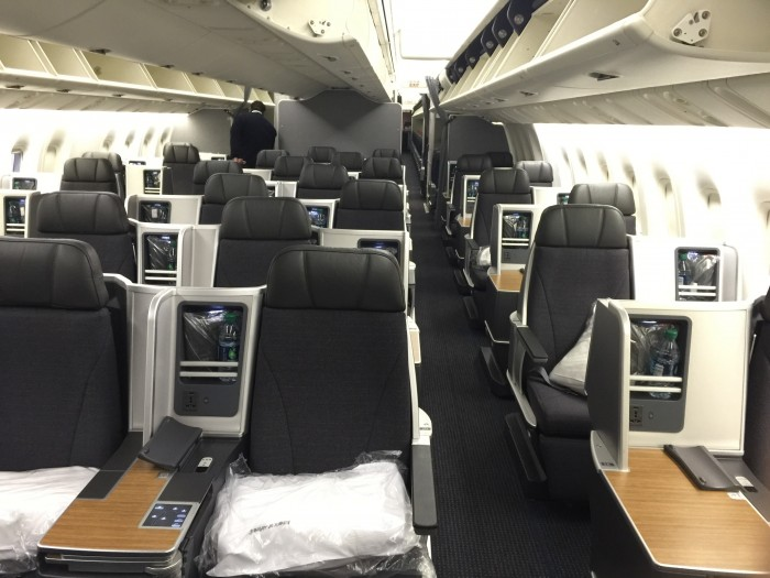 business class cabin on American Airlines' Boeing 767-300 is in a 1-2-1 configuration
