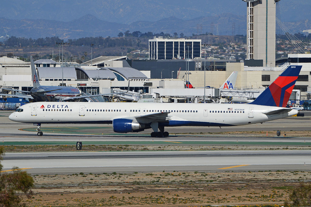 Boeing 757-351 'N593NW' Delta Air Lines Aircraft Fleet c:n 32993, l:n 1034. Built 2003. Seen taxiing in after landing at LAX