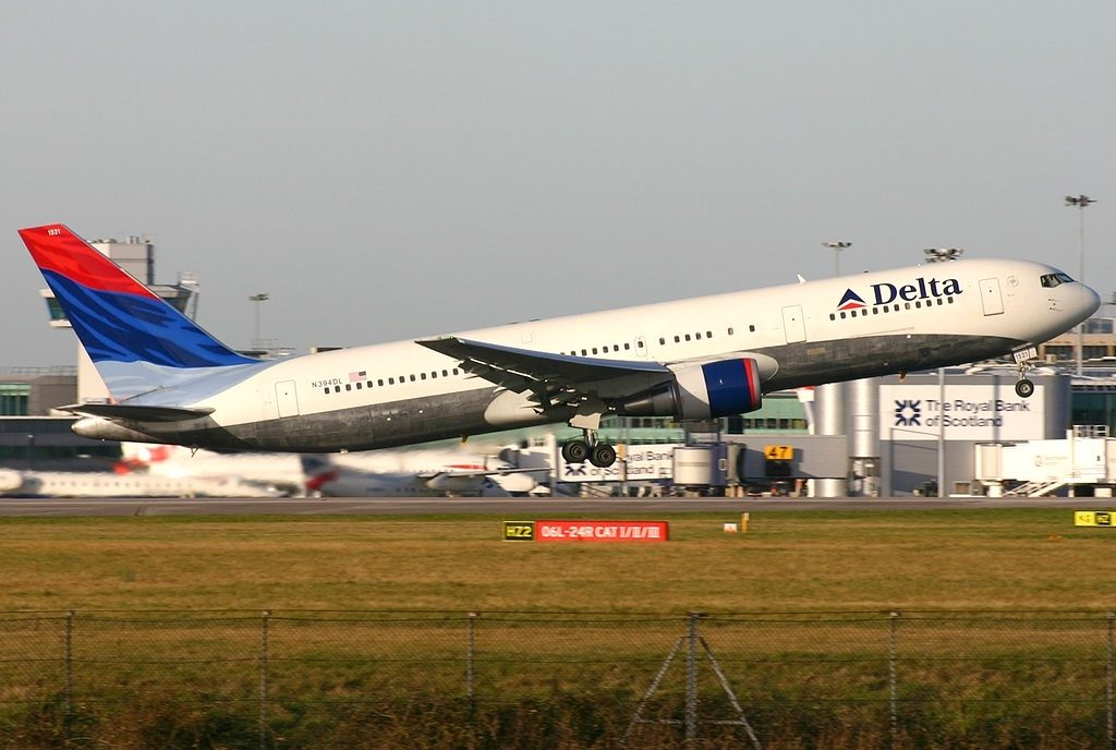 Boeing 767-324(ER) N394DL Delta Air Lines Fleet at Manchester Ringway Int'l Airport - EGCC, United Kingdom