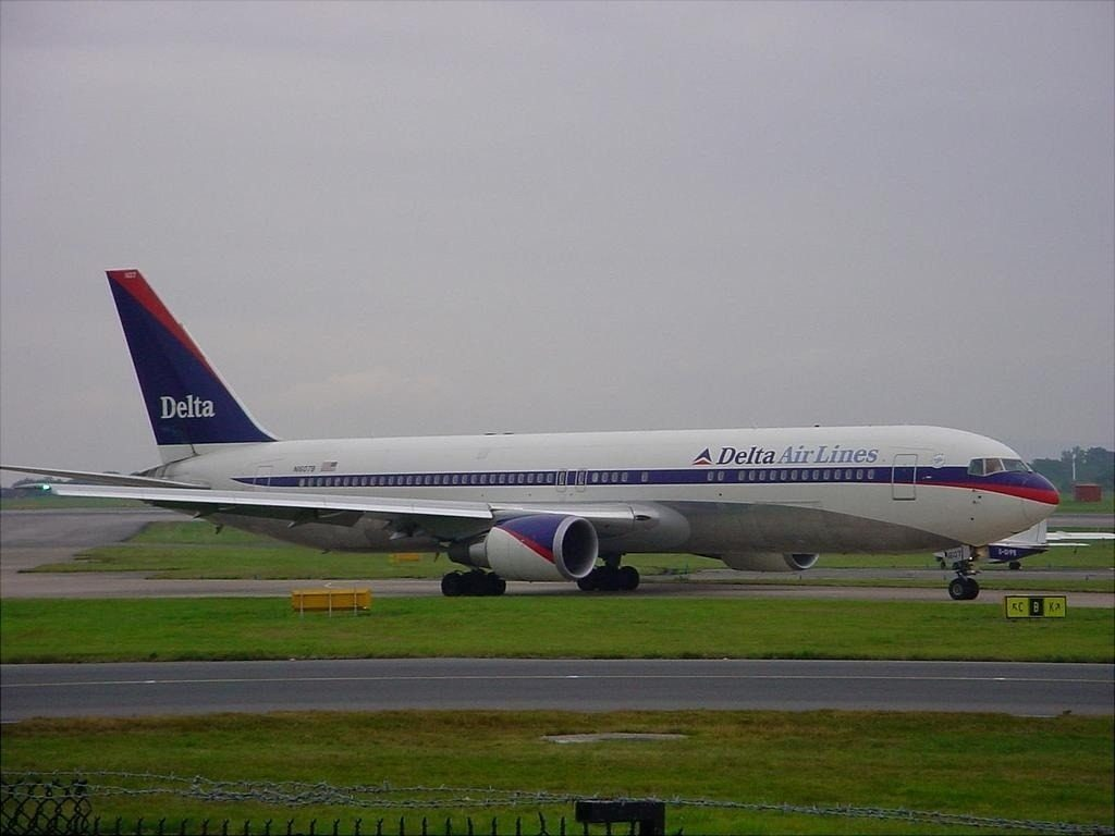 Boeing 767-332(ER), Delta Air Lines Retro Livery Aircraft at Manchester Ringway Int'l Airport - EGCC, United Kingdom