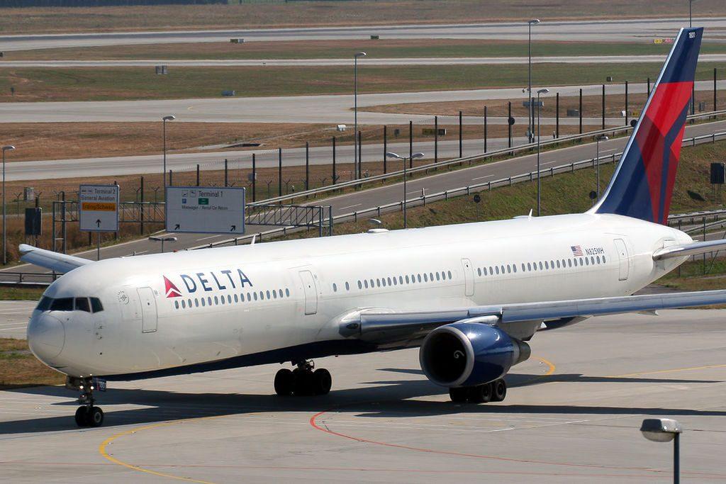 Boeing 767-432 ER Delta Airlines N825MH at Munich Airport (IATA- MUC, ICAO- EDDM) Flughafen München Germany