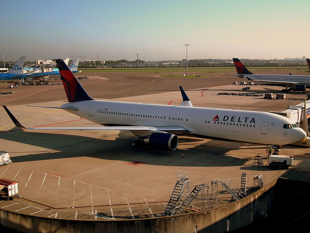 Delta Air Lines Aircraft Fleet Boeing 767-300ER N1612T at Amsterdam Airport Schiphol