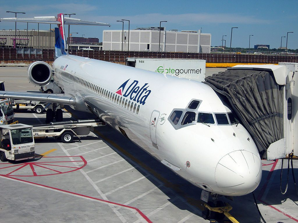 Delta Air Lines Aircraft Fleet McDonnell Douglas MD-90-30 N916DN on boarding gate at O'Hare International Airport