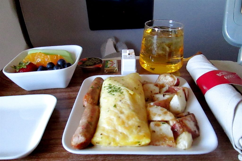 Delta Air Lines Boeing 757-200 Business Elite Class inflight amenities breakfast menu services Photos