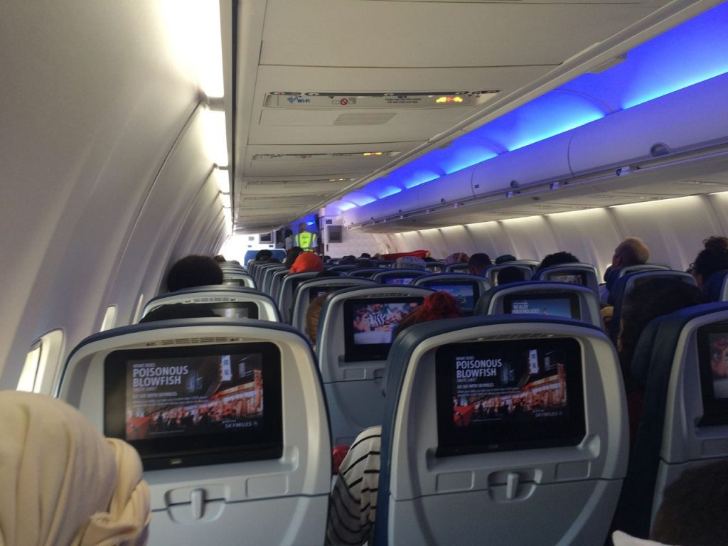 Delta Air Lines Boeing 757-200 Economy Class Cabin Mood Lightning Photos