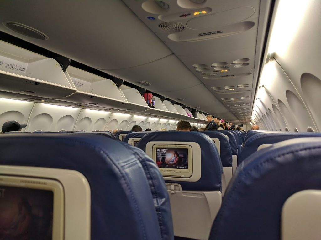 Delta Air Lines Boeing 757-200 Economy Class Cabin Passenger Boarding Photos