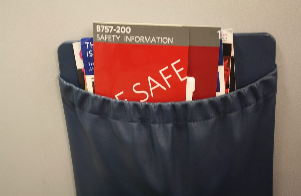 Delta Air Lines Boeing 757-200 First Class Cabin Safety Cards Photos