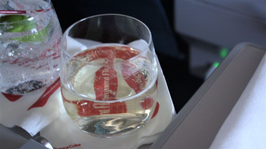 Delta Air Lines Boeing 757-200 Premium Economy (Comfort+) Class Inflight Amenities Drink Wine Photos
