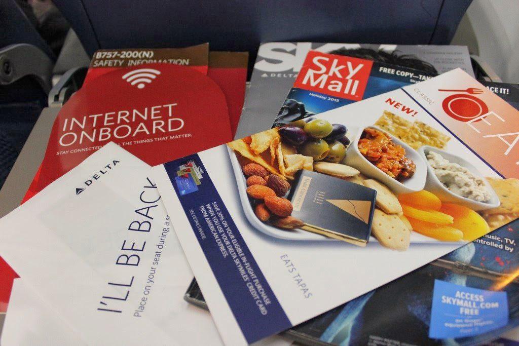 Delta Air Lines Boeing 757-200 Premium Economy (Comfort+) Class Seat pocket content Photos