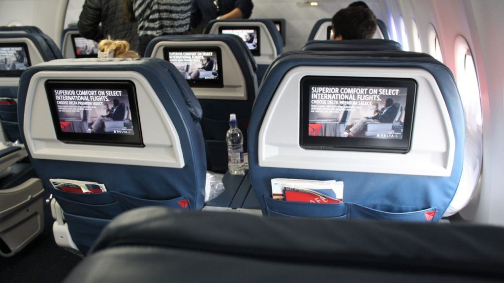 Delta Air Lines Boeing 757-200 Premium Economy (Comfort+) Class Seats IFE screens Photos