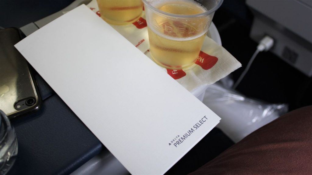 Delta Air Lines Boeing 757-200 Premium Economy (Comfort+) Class inflight amenities food menu service Photos