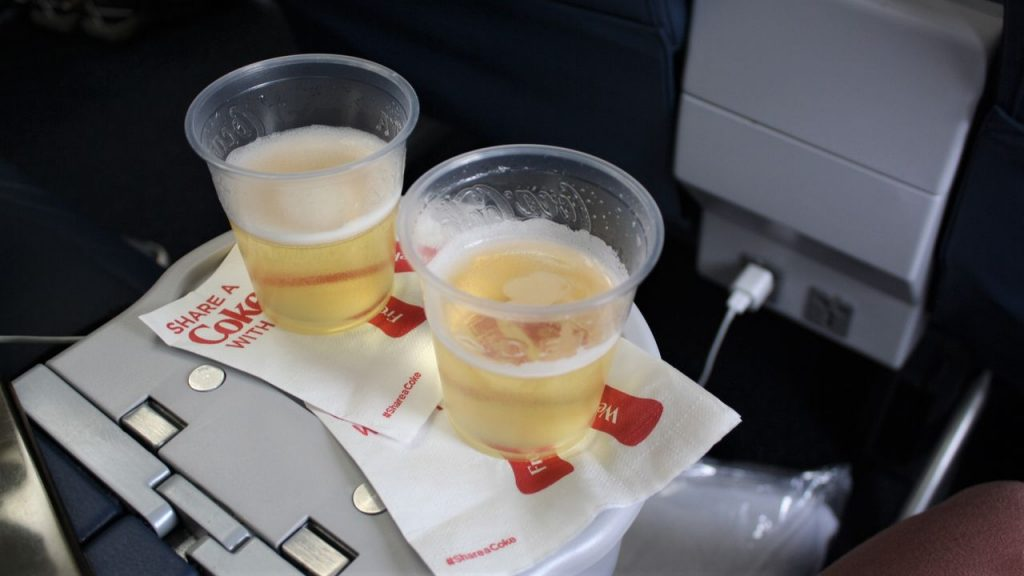 Delta Air Lines Boeing 757-200 Premium Economy (Comfort+) Class pre-departure drinks service Photos