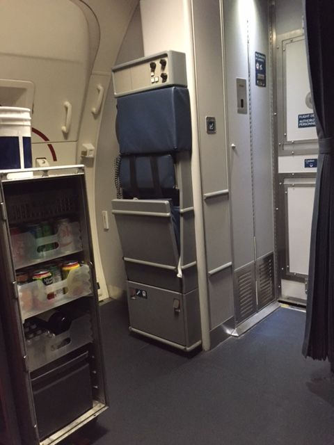 Delta Air Lines Boeing 757-300 First class cabin beverage cart galley photos