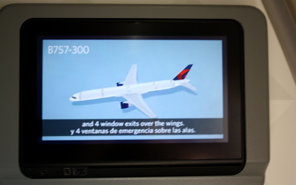 Delta Air Lines Boeing 757-300 Security video plays during pushback and taxi photos
