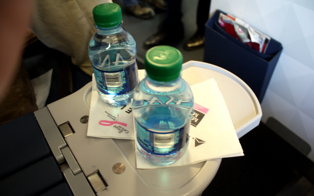 Delta Air Lines Boeing 757-300 first class cabin Bottles of water are on the central armrest photos