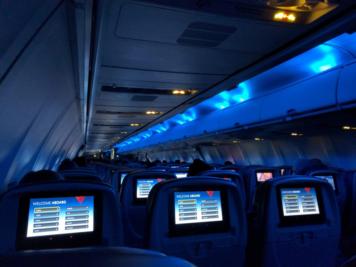 Delta Air Lines Boeing 757-300 main cabin economy class 3-3 seats layout configuration photos