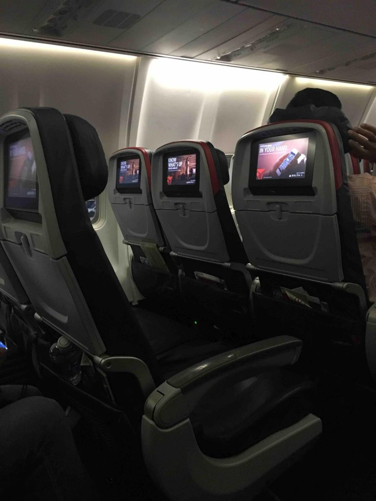Delta Air Lines Boeing 757-300 main cabin economy class seats and screen photos