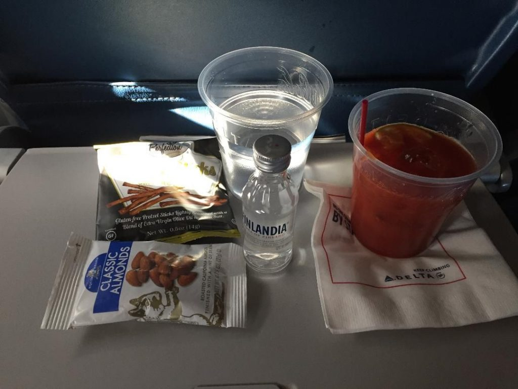 Delta Air Lines Boeing 767-300ER Business Class (First Delta One) Inflight amenities snacks and beverages services Photos
