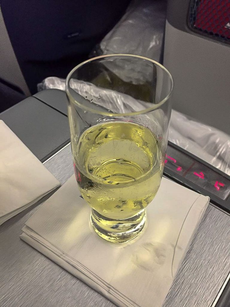 Delta Air Lines Boeing 767-300ER Business Class (First Delta One) Pre-Departure Champagne Service Photos