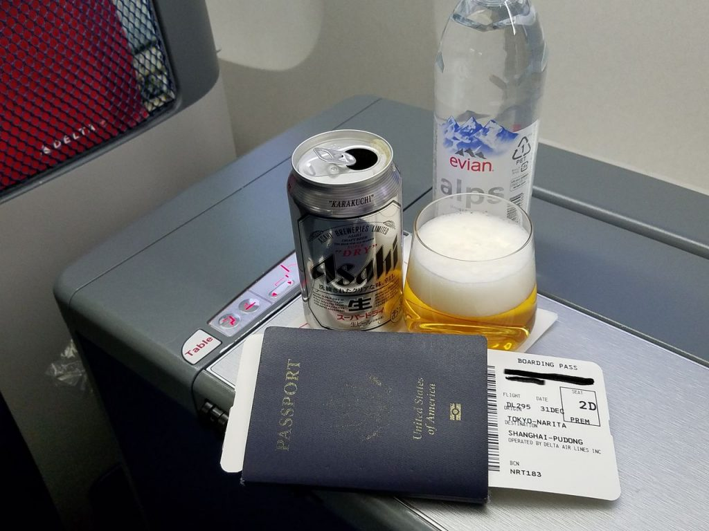 Delta Air Lines Boeing 767-300ER Business Class (First Delta One) Pre-departure beverages Photos