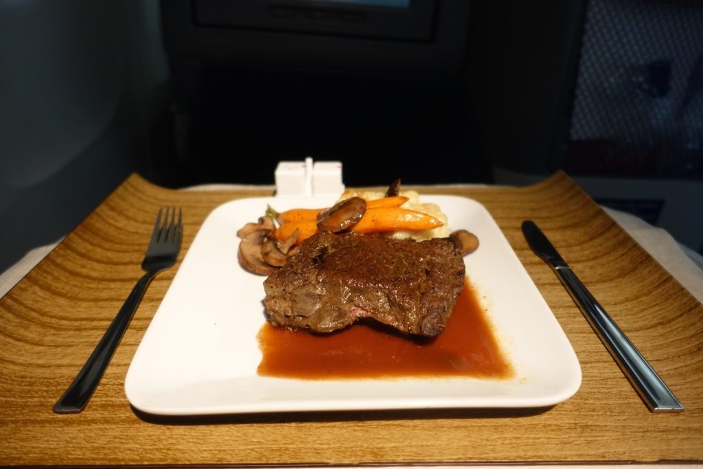 Delta Air Lines Boeing 767-400ER Business Class (DELTA ONE) inflight amenities services steak for main dish