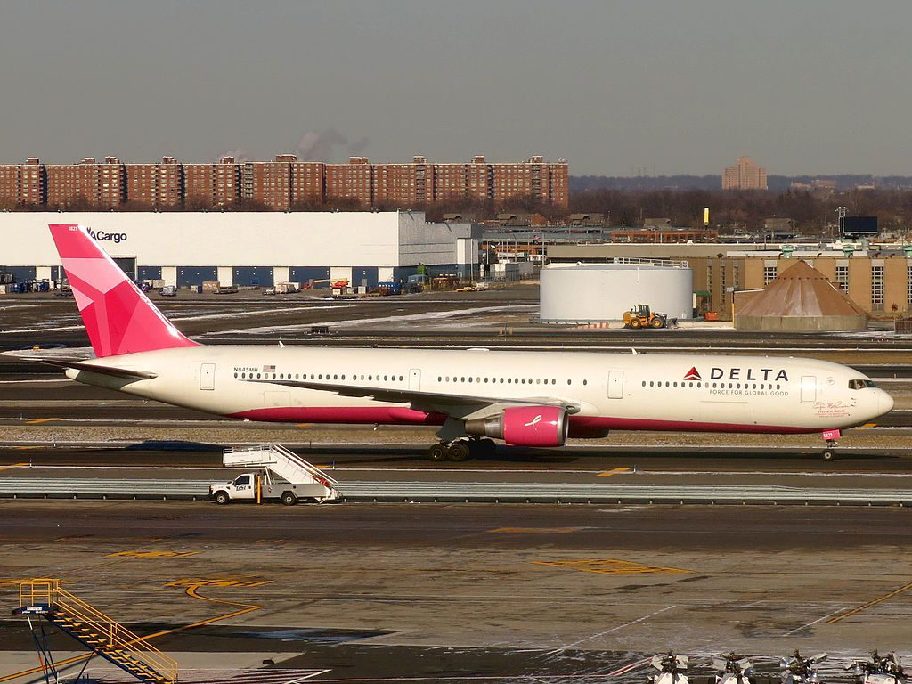 Delta Air Lines Boeing 767-432(ER) N845MH 'Breast Cancer Research' Livery Colors Between Terminals 5 and 7 at John F. Kennedy International Airport