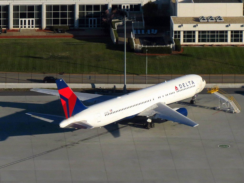 Delta Air Lines Boeing Fleet N129DL Boeing 767-300 Parking at Hartsfield-Jackson Atlanta International Airport