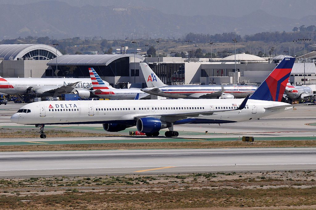 Delta Air Lines Fleet Boeing 757-300 N584NW B757-351 Taxiing at LAX Airport