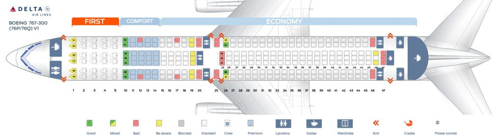 Delta Air Lines Fleet Boeing 767-300 Domestic Routes Seat Maps Pictures