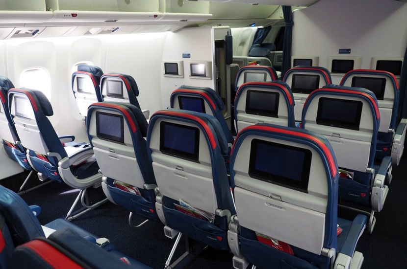 Delta Air Lines Fleet Boeing 767-300 domestic premium economy comfort+ cabin back view photos