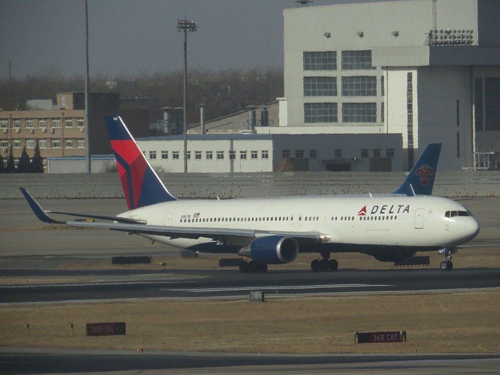 Delta Air Lines Fleet Boeing 767-300ER Winglets N1611B Taxiing @PEK Beijing Capital International Airport DAL128 to Seattle