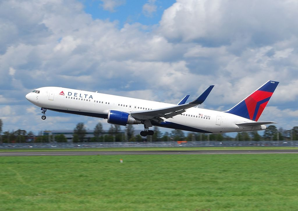 Delta Air Lines Fleet Boeing 767-332ER N1603 cn:serial number- 29695:736 take off from LHR Heathrow Airport