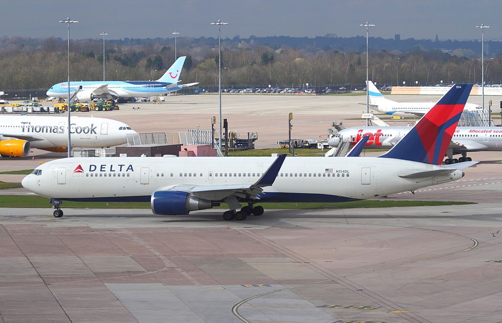 Delta Air Lines Fleet Boeing 767-3P6(ER) cn:serial number- 25241:389 taxiing at Manchester Airport, UK