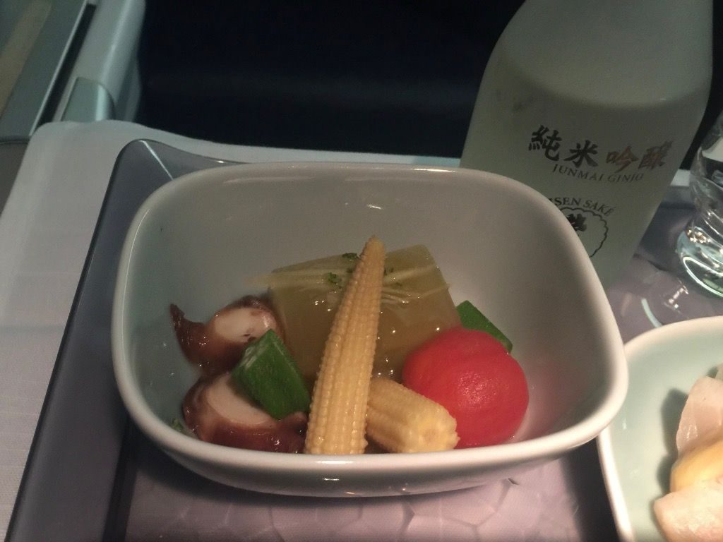 Delta Air Lines Fleet Boeing 777-200ER Business Elite Class (DELTA ONE) inflight food services Various vegetables — not quite as described in the menu, but pretty good