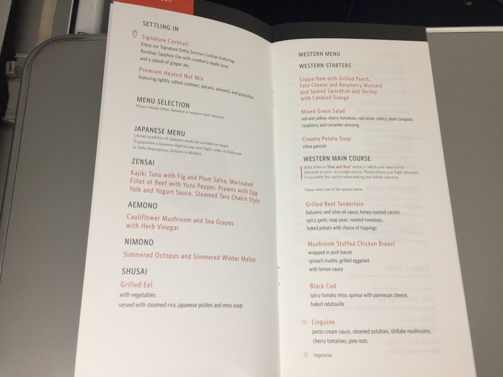 Delta Air Lines Fleet Boeing 777-200ER Business Elite Class (DELTA ONE) inflight meal menu services