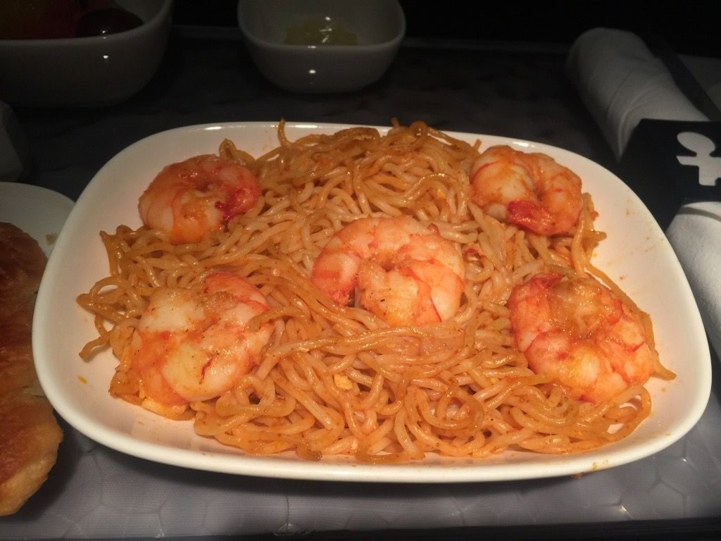 Delta Air Lines Fleet Boeing 777-200ER Business Elite Class (DELTA ONE) pre-arrival meal Indonesian noodles with shrimp dish