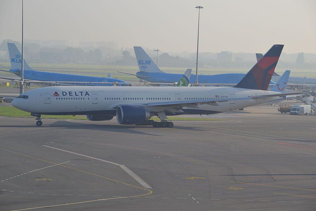 Delta Air Lines Fleet Boeing 777-200ER N707DN at Amsterdam Schipol-AMS,12:09:14