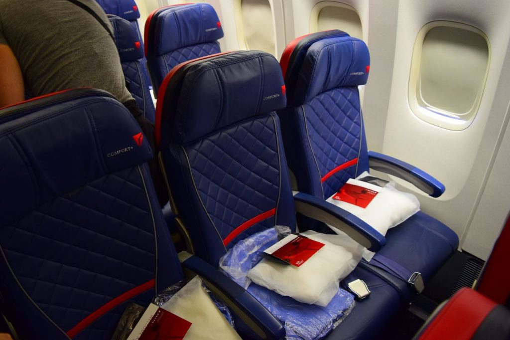 Delta Air Lines Fleet Boeing 777-200ER Premium Economy (Comfort+) seats have the quilted material and red accents