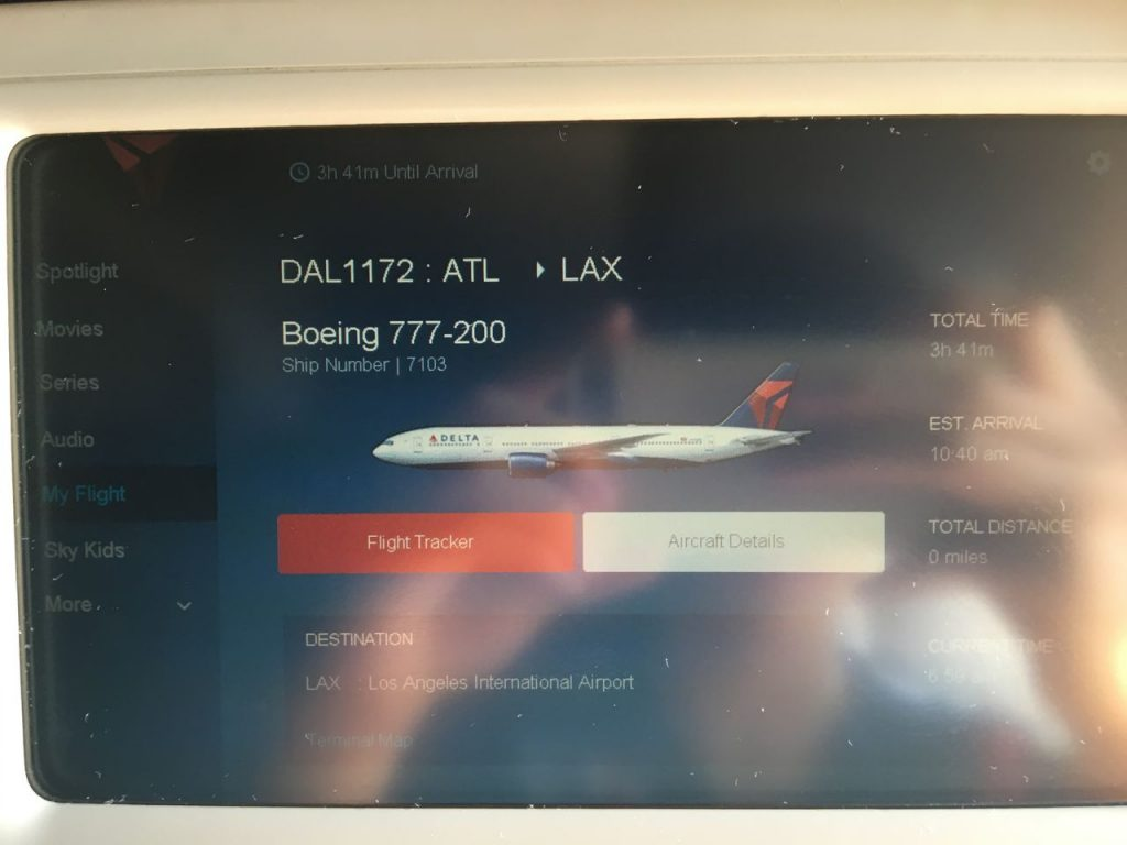 Delta Air Lines Fleet Boeing 777-200LR Main cabin economy class IFE system screen photos