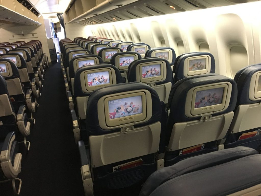 Delta Air Lines Fleet Boeing 777-200LR Main cabin economy class interior and seats configuration photos