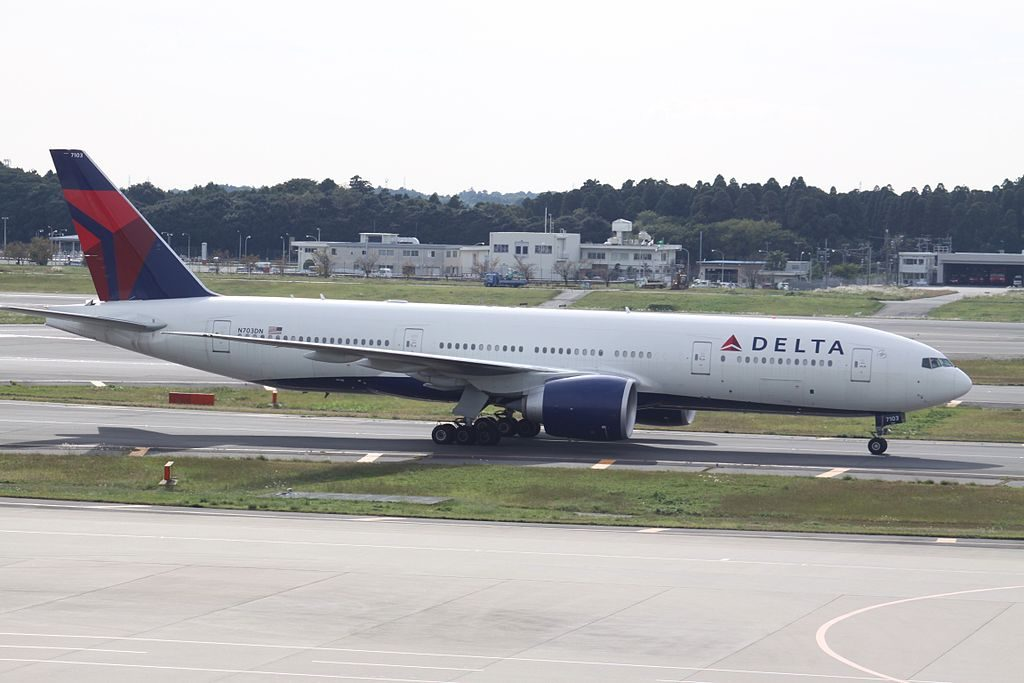 Delta Air Lines Fleet Boeing 777-232LR N703DN taxiing at Narita International Airport (IATA- NRT, ICAO- RJAA) Japan