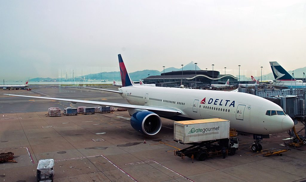 Delta Air Lines Fleet Boeing 777-232LR N710DN at Hong Kong International Airport (IATA- HKG, ICAO- VHHH) Chek Lap Kok