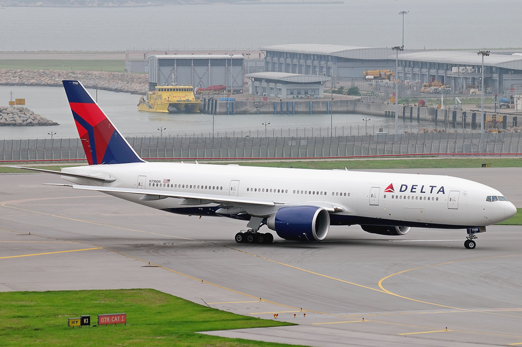 Delta Air Lines Fleet Boeing 777-232LR N710DN taxiin at Hong Kong International Airport (IATA- HKG, ICAO- VHHH) Chek Lap Kok