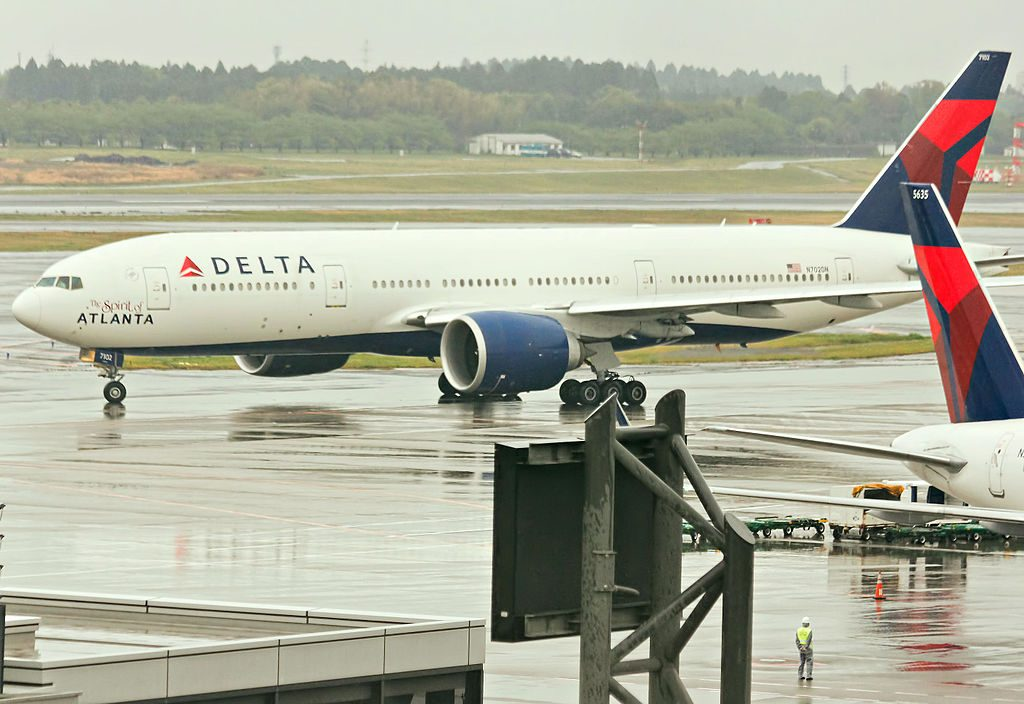 Delta Air Lines Fleet Boeing 777-232LR SN-29741 at Narita International Airport (IATA- NRT, ICAO- RJAA) Tokyo, Japan