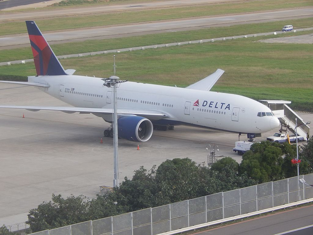 Delta Air Lines Fleet Delta 777-200LR N701DN overnights in TPE Taiwan Taoyuan International Airport (IATA- TPE, ICAO- RCTP)