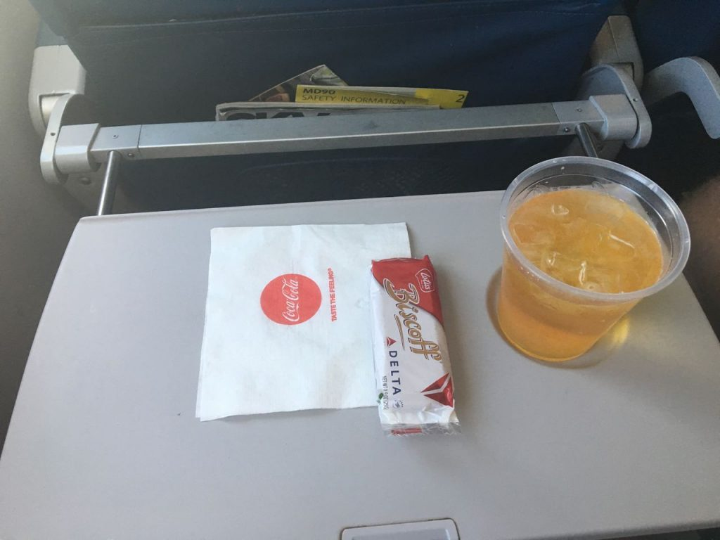 Delta Air Lines Fleet McDonnell Douglas MD-90-30 (M90) Economy Class Inflight Amenities Drink and Snacks Services